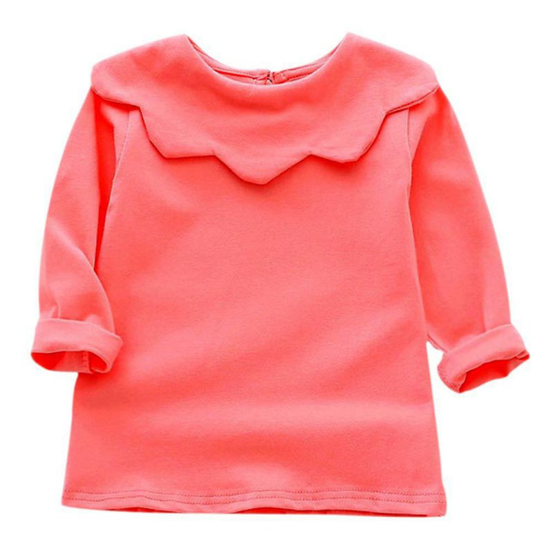 Baby T shirt Autumn Tops Children Girls Clothing Floral Collar 100 Cotton T shirts Striped Full
