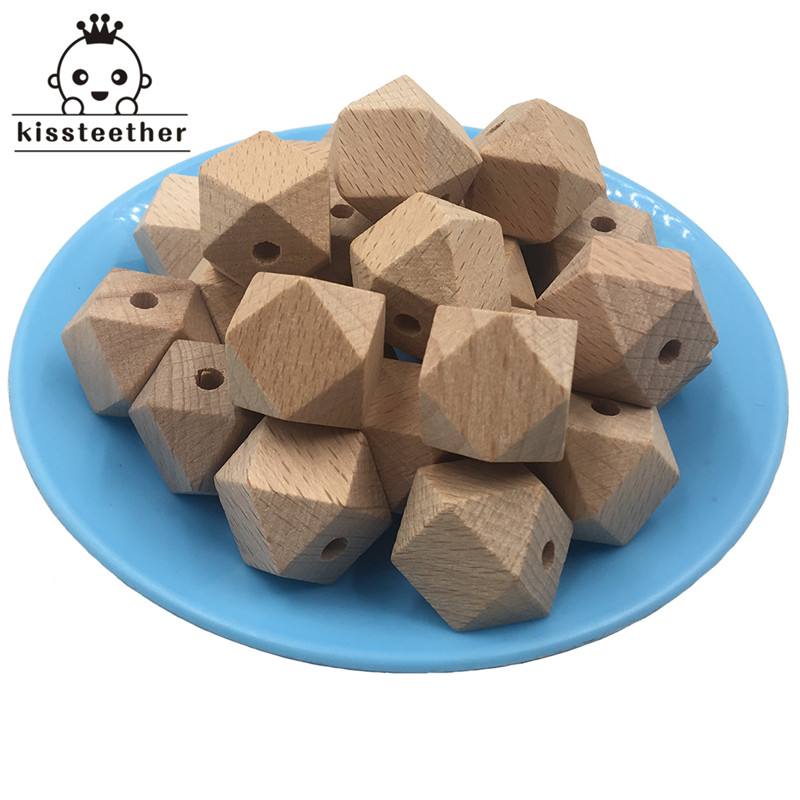 High Quality Faceted Beech Wood Bead,100pcs 10-20mm Unfinished Natural Geometric Figure Polygon Wooden Beads,For DIY Teether