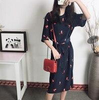 Fox Printing Summer Silk midi dress womenk 2019 tshirt Long dress Fitted waist Deisgn