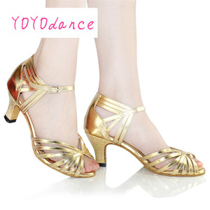 Image 5 - Gold Silver Latin Modern Dance Shoes Soft Outsole Female Square 6 7.5cm,8.5cm Thin Heel Athletic Ballroom Dancing Shoes