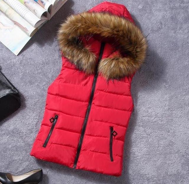 Russian Autumn and winter women down cotton vest women's with a hood fashion vest female waistcoat vests red slim female vests
