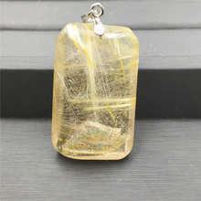 Natural Gold Rutilated Quartz Pendant Rectangle Gemstone Party Anniversary Gift 36x23x12mm Crystal AAAAA Stone