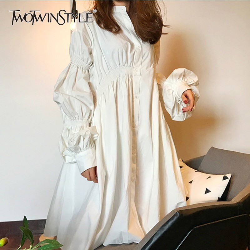 TWOTWINSTYLE Puff Sleeve Shirt Dress Women Ruched Oversized Casual Dress Female Casual Fashion Clothing Big Size