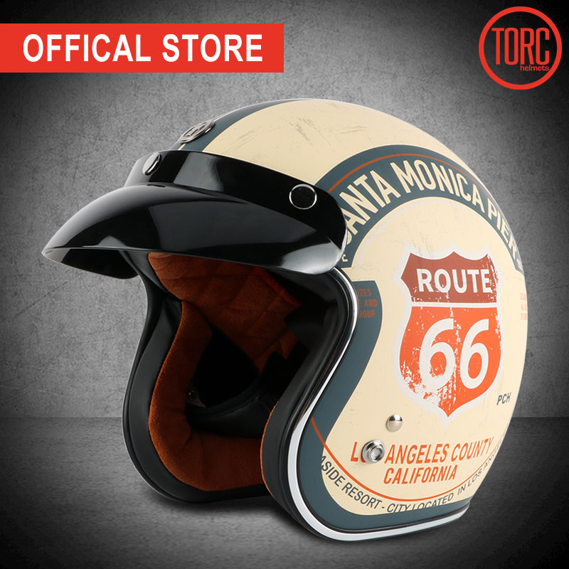 TORC helm sepeda motor vintage wajah terbuka sepeda motor motorcross jet retro pribadi helm capacete moto vespa merek helm
