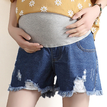 Yuanjiaxin Summer 2017 Maternity Denim Shorts Pregnancy Women New Thin Hole Loose Plus Size Pants Casual Pregnant Elastic Belly