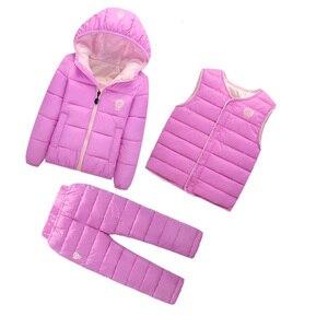 Image 4 - เด็กชุดเด็กหญิงชุดฤดูหนาว 1 7T ลงฝ้ายแจ็คเก็ต + กางเกงกันน้ำเด็กอุ่นชุด 2/3pcs