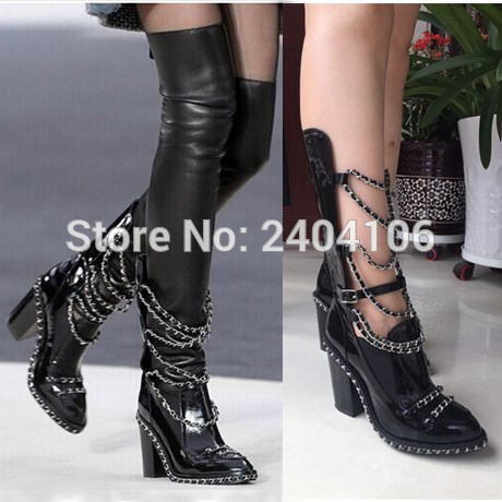 Black Patent Leather Stretch Over Knee Boots Chain Embellished Block Heel Thigh High Boots Platform Shoes Woman Ankle Booties