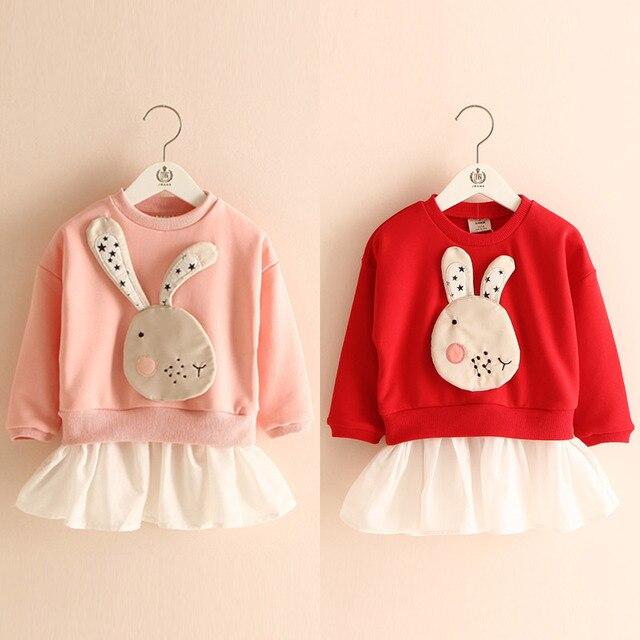 The baby rabbit who dress shirt spring 2017 Korean version of the new girls kids children doll shirt wt-5157