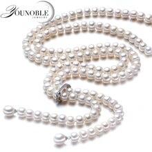 900 ミリメートルヴィンテージリアルロング真珠のネックレスの女性、女の子の宝石 925 シルバー天然ブライダル淡水ホワイトパールネックレス母