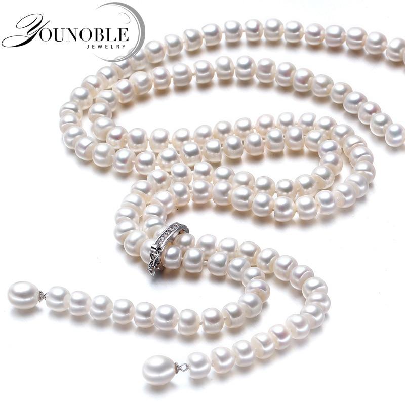 900mm vintage äkta lång pärlhalsband kvinnor, tjejer smycken 925 silver naturliga brudens sötvattenspärlor halsband halsband mamma
