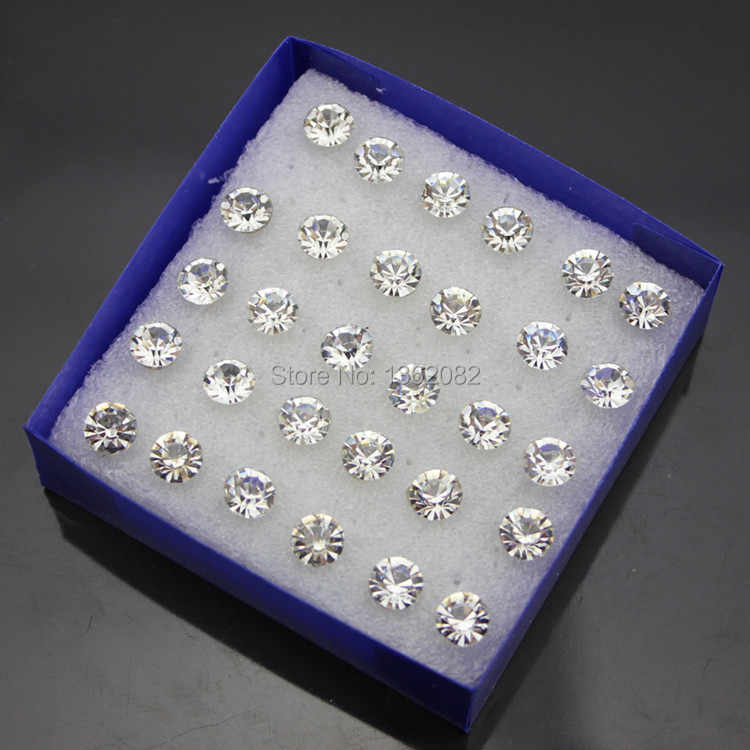 Wholesale lots 20pairs 6mm Fashion Girl Women's Imitation Diamonds Clear Crystal Stud Earrings Plastic earrings Gift ME95
