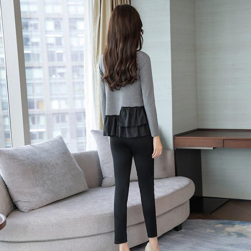 L-5xl Grey Black Casual Two Piece Set Women Long Sleeve V-neck Tops+skinny Pants Women's Sets Elastic Waist Pants Plus Size 2019 27