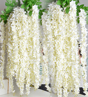 1 6M Artificial Wisteria Flower Rattan Silk Flower Vines Garlands For Wedding Party Centerpieces Decorations Home