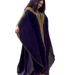 Image 1 - Kralen Afrika Kleding Afrikaanse Jurken Voor Vrouwen Moslim Gewaad Lange Jurk Hoge Kwaliteit Lengte Mode Afrikaanse Jurk Lady