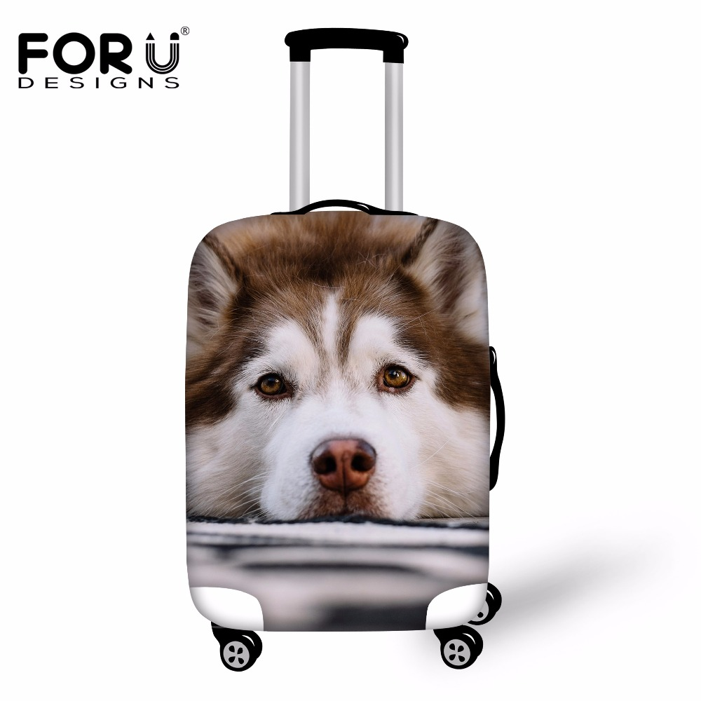 FORUDESIGNS 3D Cool Animal Husky Elastic Travel Accessories Luggage Protective Cover For 18/20/22/24/26/28/30inch Suitcase Case