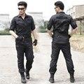 Seguridad negro uniforme de entrenamiento camuflaje hombres el juego del desgaste transpirable ropa de los aficionados militares instructor militar conjunto