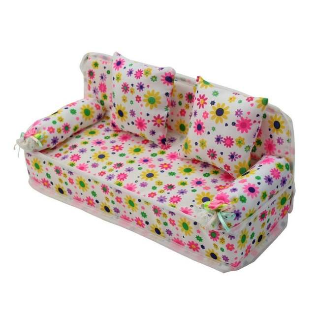 Astounding Lovely Miniature Furniture Flower Print Sofa Couch With 2 Cushions For Barbie Doll House Toys Hot Selling Bralicious Painted Fabric Chair Ideas Braliciousco