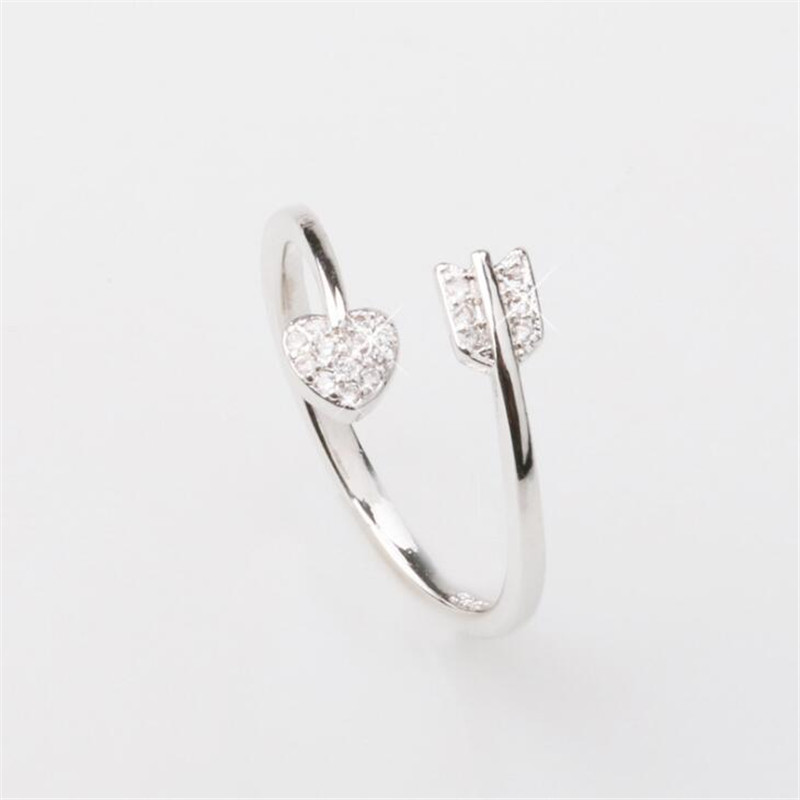 2018 New Fashion 925 Sterling Silver Arrow Love Heart Wedding Jewelry Open Ring Cubic Zirconia Rings For Women Anillos R330