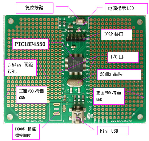 Free Shipping  PIC Development Board With USB Function PIC18F4550-I/PT Development Board