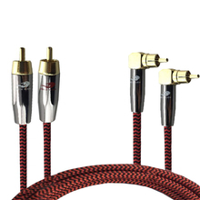 Hifi Audio Cable 2 RCA to 2 RCA TV Amplifier Subwoofer Dual RCA Angle to Straight OFC Cable Shielded 1M 1.5M 2M 3M 5M 75cm