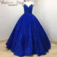 Luxuary Real Photo Sexy V Diseño de Noche Largo Azul Real 2017 vestidos Sin Tirantes de Lentejuelas Vestido de Fiesta Vestido De Festa Plus tamaño