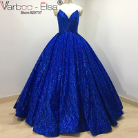 luxuary Real Photo Sexy V Design Long Royal Blue Evening Dresses 2017 Strapless Sequined Party Gown Vestido De Festa Plus Size