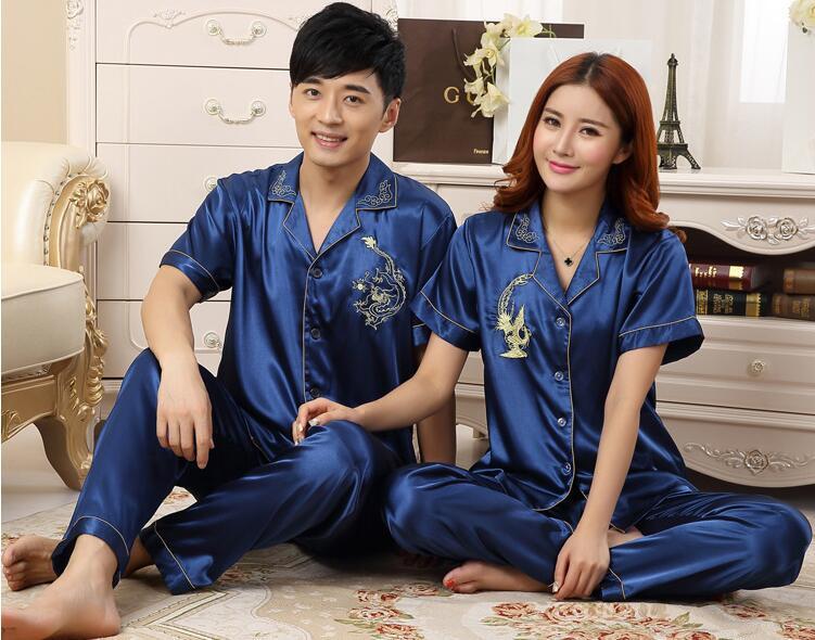 Hot Fashion Men Pajamas Summer 2017 Brand Ladies Satin Pyjama Short Sleeve Silk Pajamas Sets Pyjamas Lovers' Silk Sleepwear