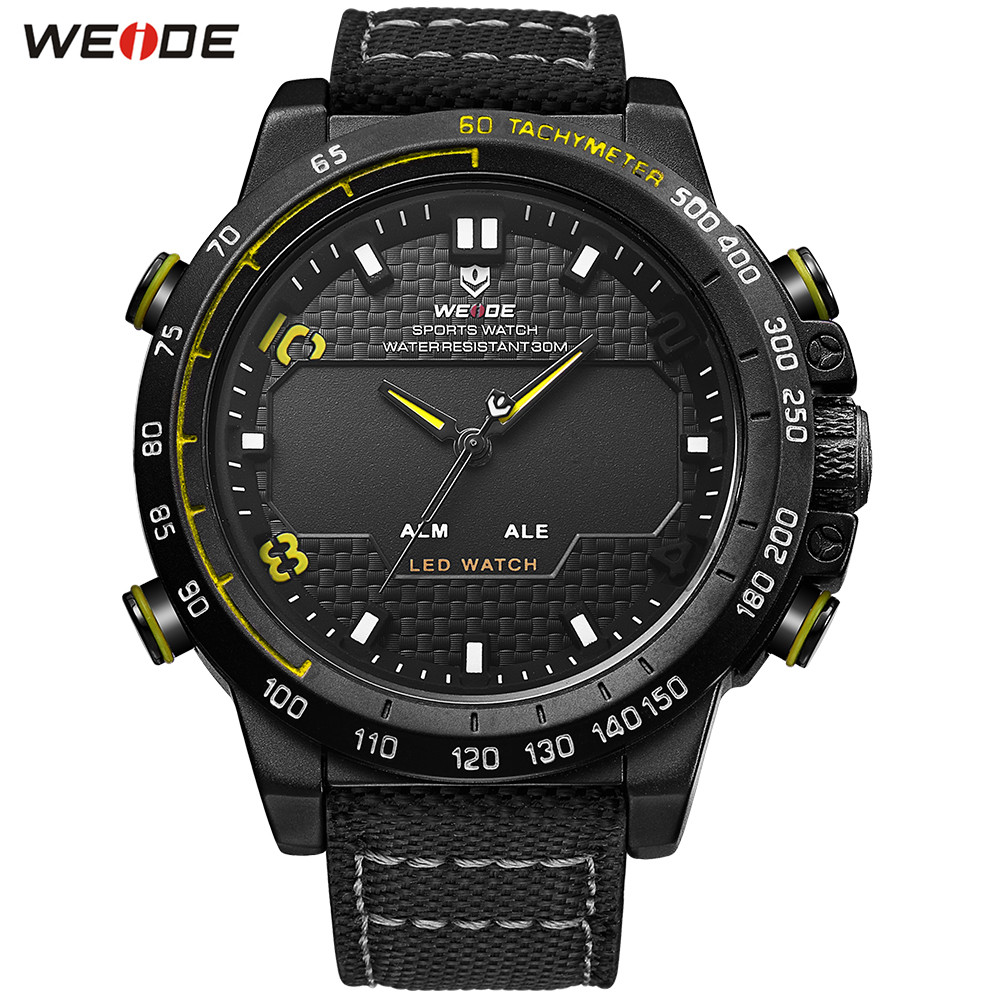 2018 Original WEIDE Man Fashion Army Sport Watch Men LED Dual Time Digital Quartz Watch Nylon Band Military Wristwatch Relogios купить недорого в Москве