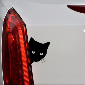Black Cat Face Peeking Motorcycle Car Stickers Window Decals Love Heart Labrador Heartbeat Auto Decors Car Sticker image