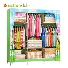 Actionclub paysage impression armoire grande fermeture éclair Non tissé tissu armoire en acier cadre vêtements rangement organisateur meubles