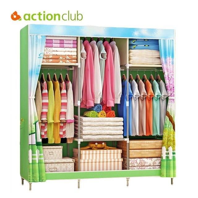 Actionclub風景印刷ワードローブ大型ジッパー不織布ワードローブ鋼フレーム服収納オーガナイザー家具