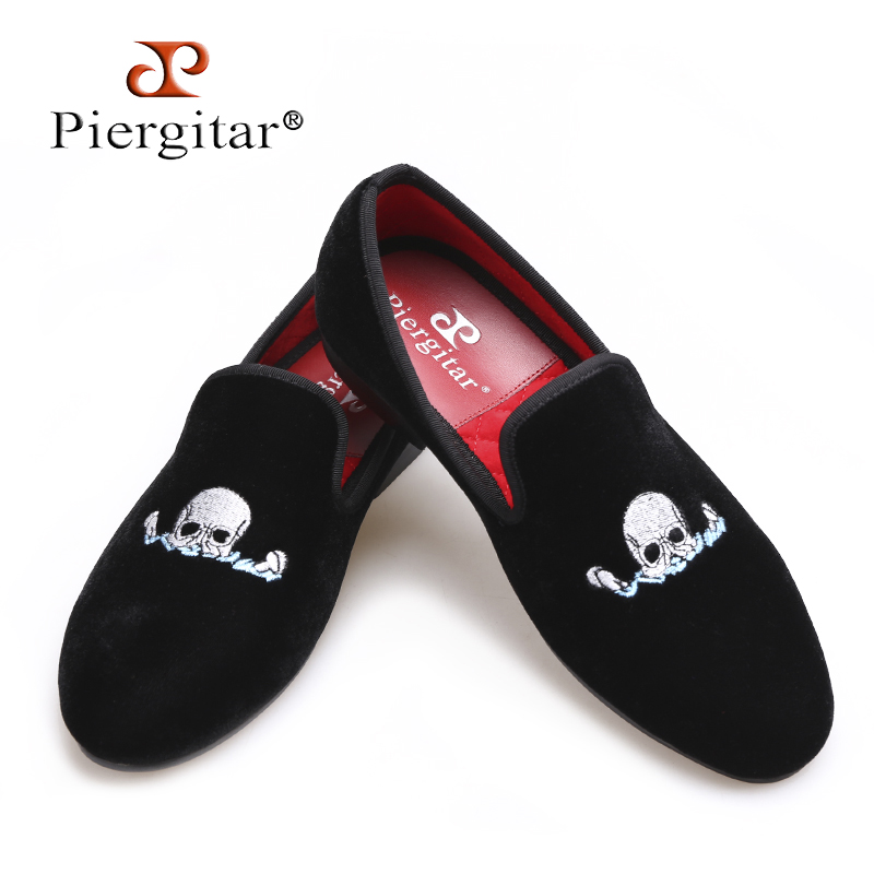 Piergitar Handmade Black Men Velvet Shoes Skull embroidery Loafers Smoking Slippers Men's Flats Size US 4-17 Free shipping new black embroidery loafers men luxury velvet smoking slippers british mens casual boat shoes slip on flat shoes espadrilles