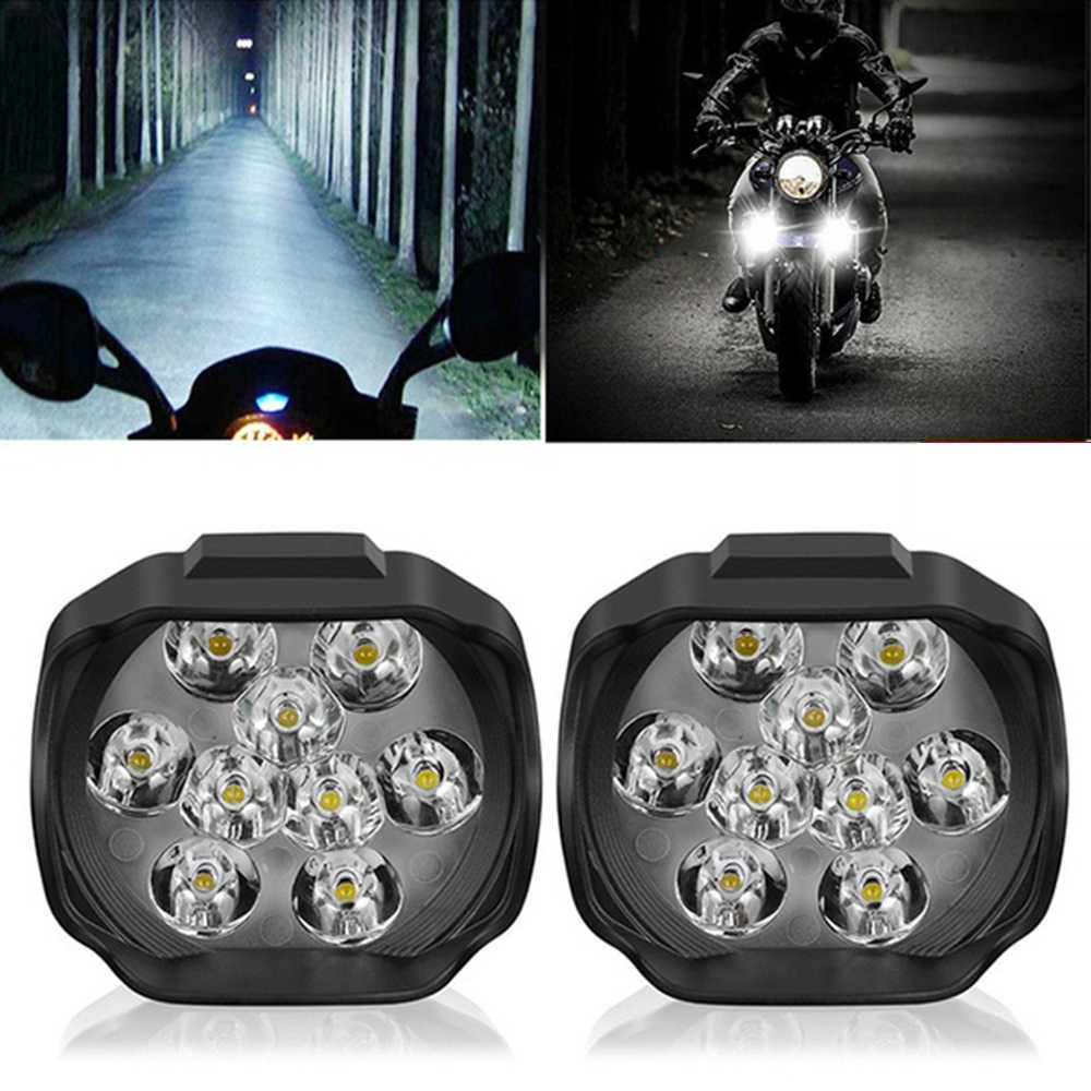 Motorcycle Headlight 9 LED 15W DC12V Super Bright Fog Spot White Work Light Internal Drive For Motorcycles, Electric Bicycles