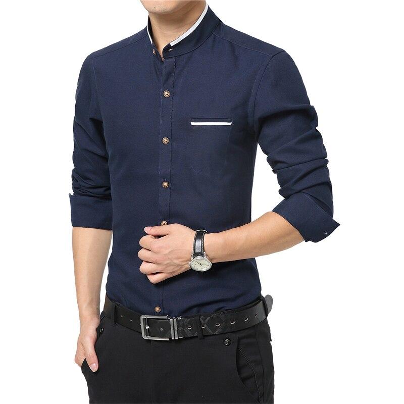 f8685b4a179 New Fashion Casual Men Shirt Long Sleeve Mandarin Collar Slim Fit ...