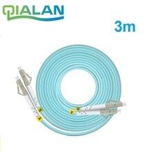 Câble de raccordement optique à Fiber optique 3 m LC SC FC ST UPC OM3 câble de raccordement Duplex cordon de raccordement à 2 cœurs Multimode 2.0mm cordon de raccordement à Fiber optique