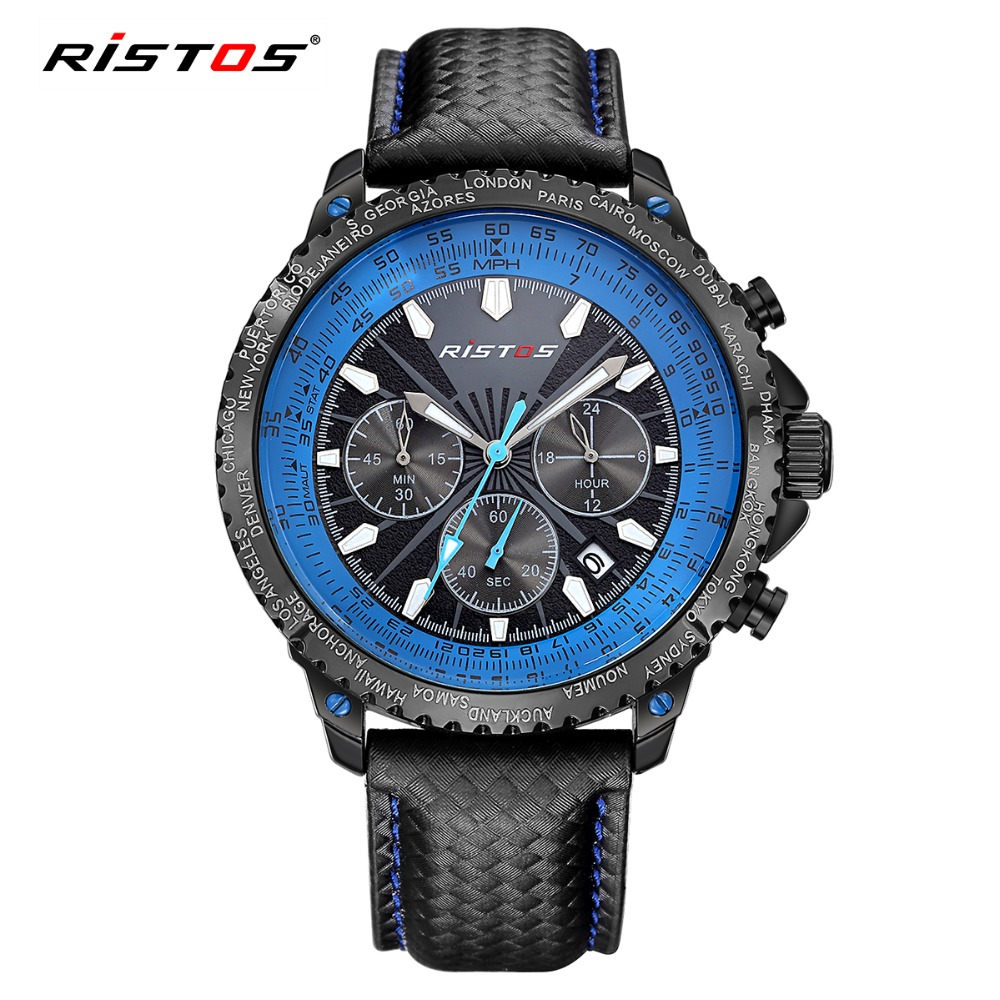 RISTOS Chronograph Watch New Fashion Sport Men Quartz-Watch Calendar Leather Mens Watches Top Brand Luxury Wrist Watched Relojes hubot elegant classic men s watch dates calendar classical art carved craft design chronograph men sport watches relogios