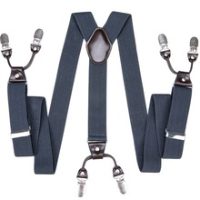 DiBanGu Brand Novelty Solid 6 Clips Suspenders Braces Elastic Adjustable Suspenders Sling Unisex Braces Suspensorio BD-007
