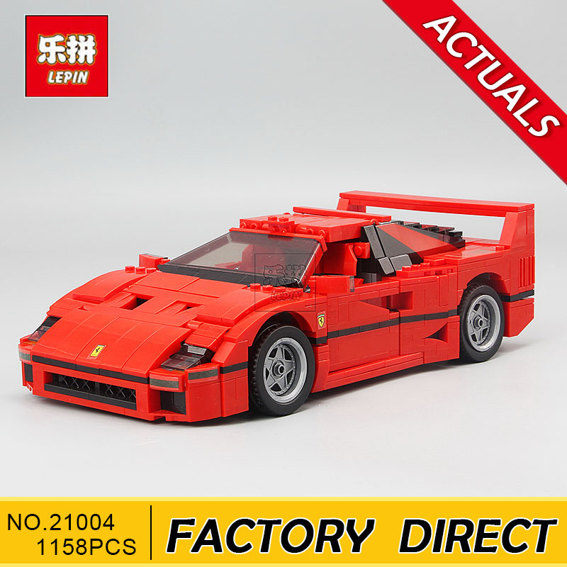 Lepin 21004 Ferrarie F40 Sports Car Model Building Blocks Kits Bricks Toys Compatible with 10248 001 21004 f40 sports car model building kits compatible with lego 10248 city 3d blocks educational toys hobbies for children