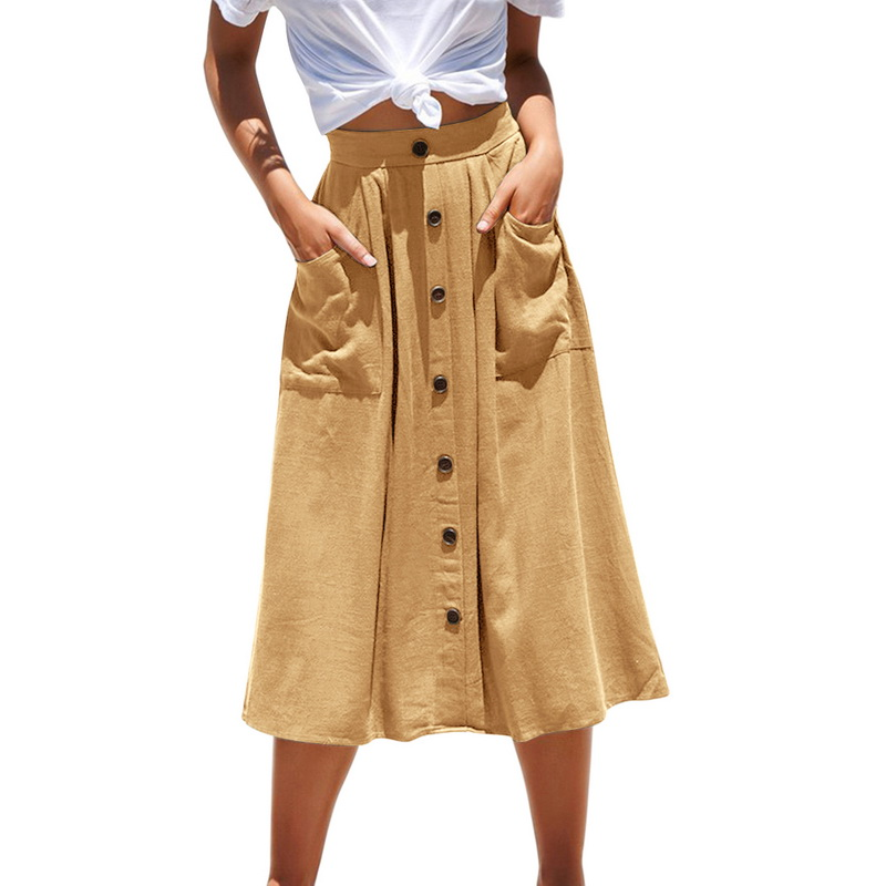2019 Spring Summer Fashion Casual Women Pure Color Skirts High Waist Single Breasted Buttons Midi Skirt Pocket Hot Sale|Skirts|   - AliExpress