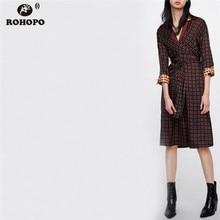 ROHOPO Red Plaid Autumn Vintage Dress Bow Belted Tunic Midi Dresses Slit Hem College Female Autumn Patchwork Dress #OYK8718 цена 2017