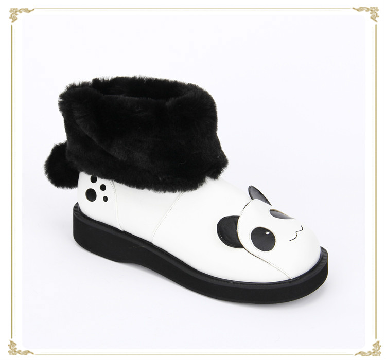 Princess sweet lolita shoes new winter style cotton boots panda ears COS round-toe slip-on short boots pu8883 super lovely white rabbit ears lolita princess platform heels shoes comfortable round toe cos shoes