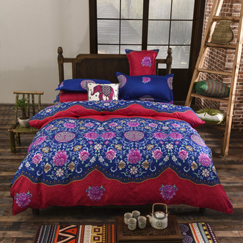 EsyDream Chinese Style Bedding Bedspreads King Size,4pc Queen Twin Size Bohemia Style Princess Hotel Bed Sheet