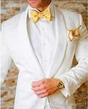 Классический дизайн белый Пейсли Жених Смокинги Groomsmen одна кнопка шаль нагрудные Best Man костюм Свадебные Мужские Блейзер Костюмы Куртки Брюки