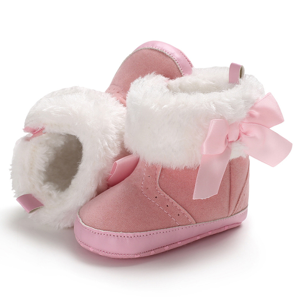 Detail Feedback Questions about Baby Shoes Girl Soft Booties Pink Bow Pure  Color High Gang Snow Boots Anti slip Toddler Warm Shoes for Baby Girl 1  year old ... ec709d892a13