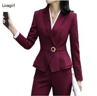 High quality winter women suits two pieces set formal long sleeve slim blazer and trousers office ladies plus size work wear