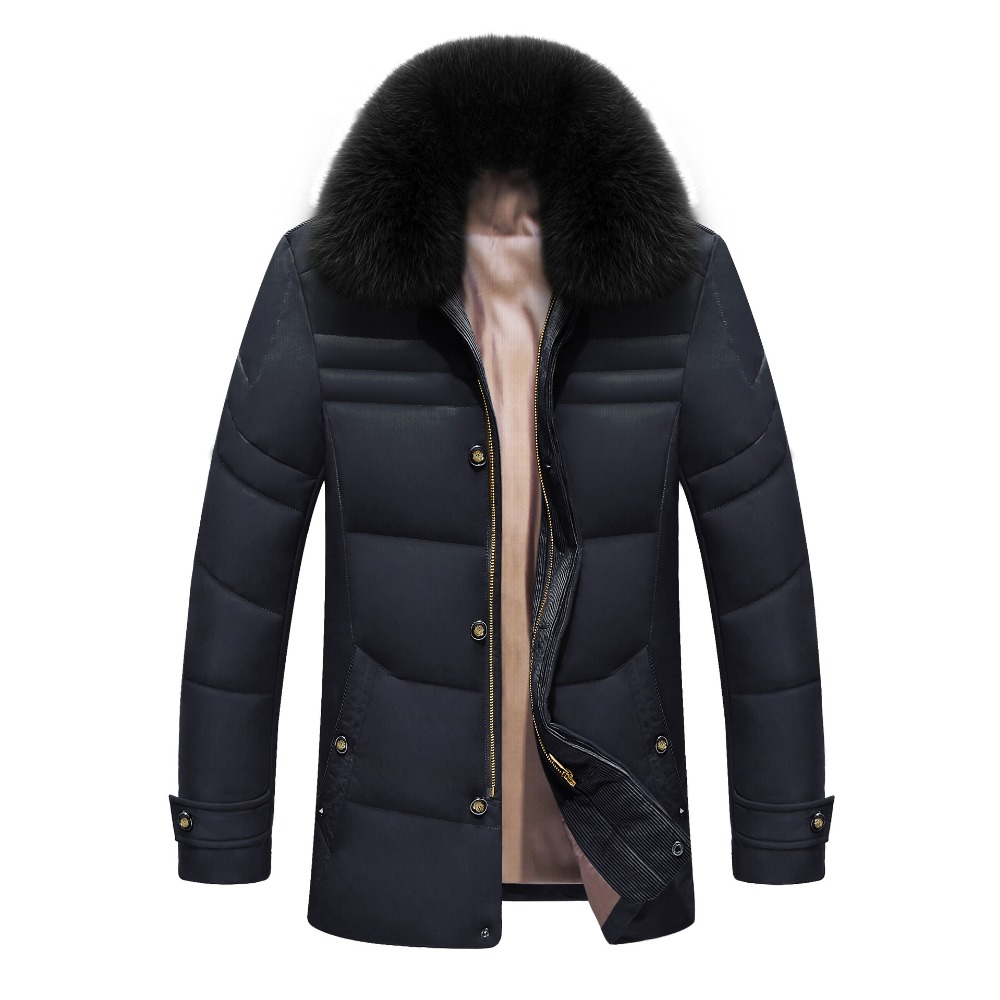 2017 Winter Jacket Men Solid High Quality Jackets Mens White Duck Down Coat Parkas With Real Fox Fur Hood