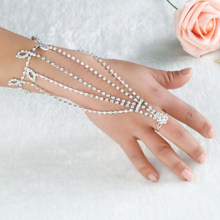 New fashion shining leaf latin silver lady girl dancing rhinestone chain gloves charn bracelet free shipping wholesale