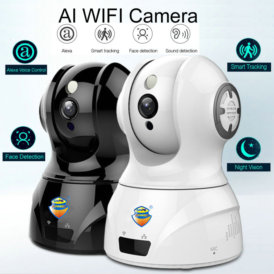 Smart WIFI PTZ FHD IP Cloud Camera with Alexa Voice Control Auto Smart Tracking Face Detection