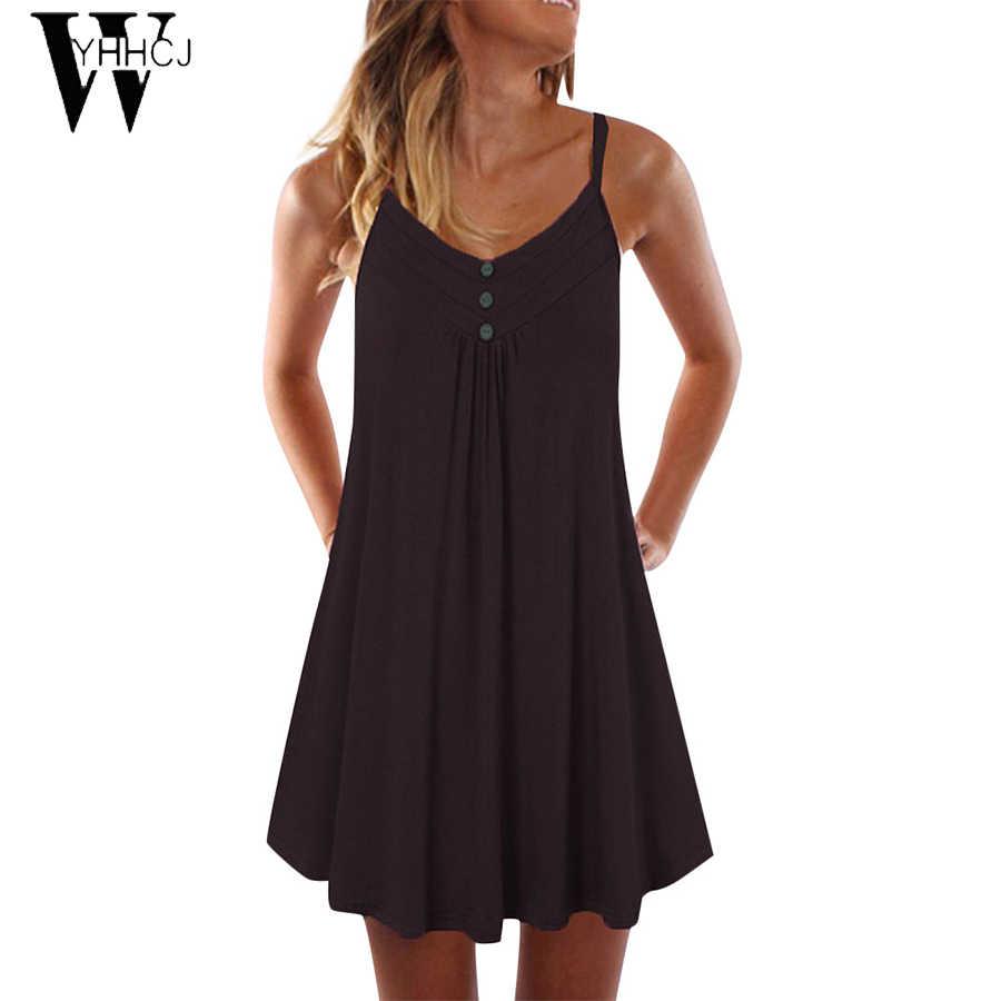 WYHHCJ 2019 femmes sexy plissé robe ample solide 9 couleurs pas cher grande taille 4XL décontracté pour les vacances robe de plage livraison directe
