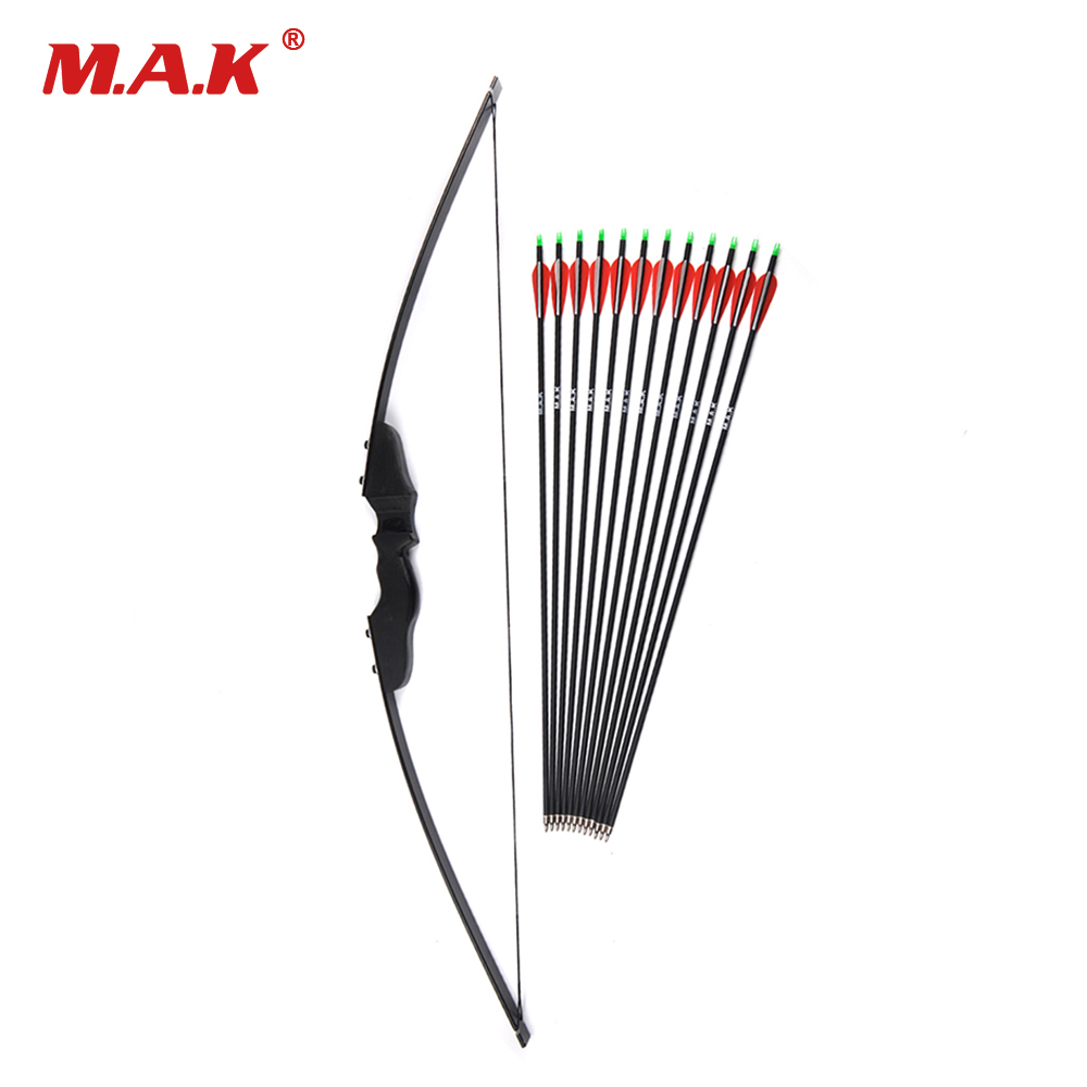 Archery Bow 30/40lbs Recurve Bow with 12pcs Carbon Arrowss Shooting Hunting Game Outdoor Sports image